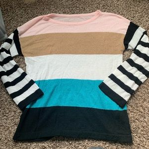 Striped sweater casual belle sleeves fall